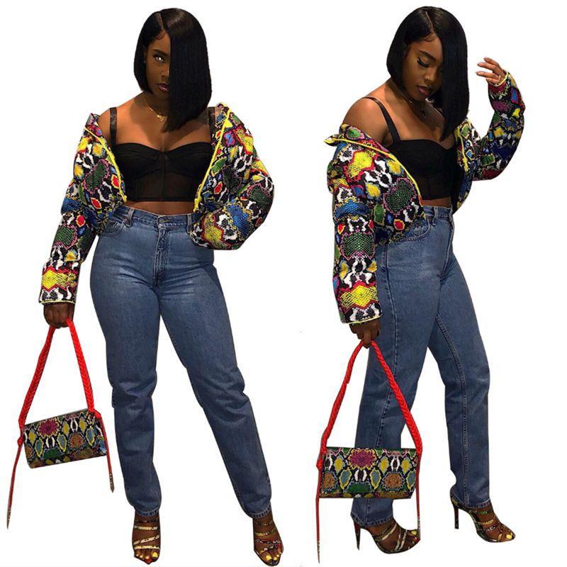 Brasão colorido Jacket Imprimir Mulheres Festival roupa para baixo bolha Tops Quente Cortar Grosso Parka Casacos Casaco Entufado fz2759