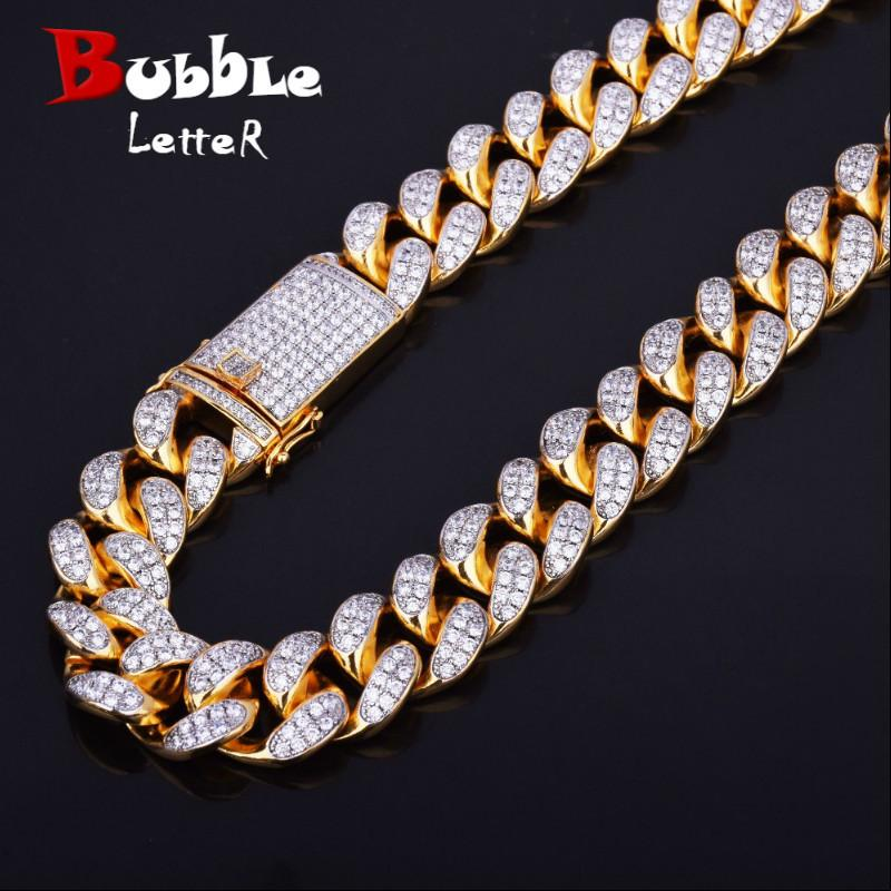 "Finish Men's 20mm Heavy Iced Zircon Miami Cuban Link Necklace Choker Bling Bling Hip Hop Jewelry Gold Silver Chain 18"" 20"" J190620"