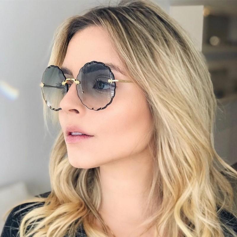 2020 redonda óculos de sol flor colar em forma Lentes de metal sem aro Undulation Moda Personalidade Gradiente Marinha lentes UV400