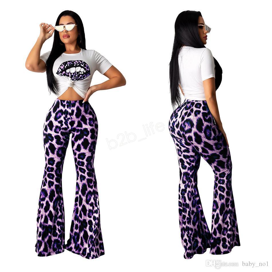 Conjunto de 2 Piezas para Mujer Labios Camiseta con Estampado de Leopardo y Hombros Descubiertos Top Ajustado con Bolsillos Pantalones Cortos Conjunto de ch/ándales
