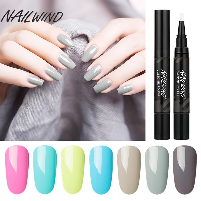 Nailwind 5ml unhas de gel polonês lápis 60 cores Nail Polish UV híbrido Gel Escova Pen Nails Art Soak Off Top Lacado Branco