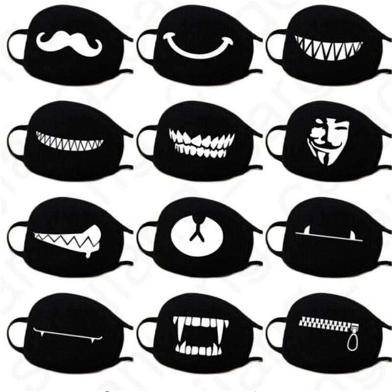40 Renkler Karikatür Yüz Maskeleri Anti Toz Yüz Kapak Kawaii Anime Ağız Maskeleri Kaomoji-kun Emotiction Nefes Pamuk Siyah Maske D31406 Maske