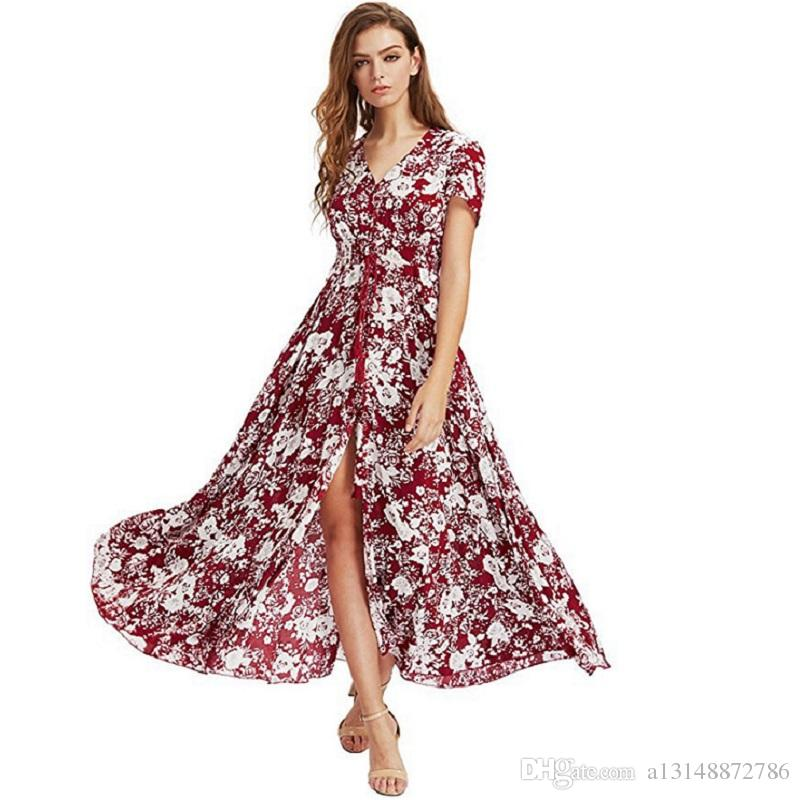 Bohemia Floral Long Dresses Women Summer Dress 2019 Maxi Sundress Button Up Split Print Flowy Evening Party Dresses vestidos