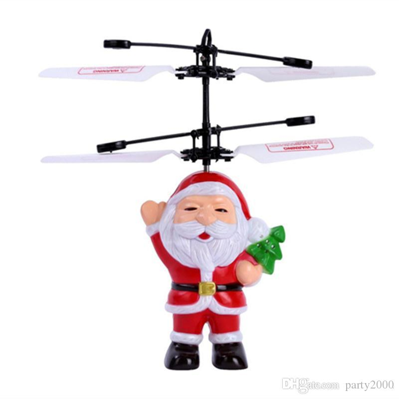 Top Quality Santa Claus Electric Infrared Sensor Flying Ball Father Christmas Inductive Aircraft Helicopter Flying Toys Christmas Gift DHL