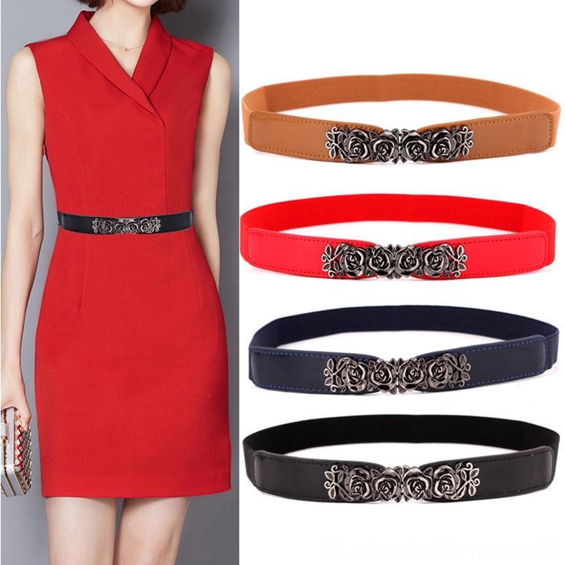 Moda Kadın Kemer Elastik Kemer Altın Çember Kemerler Toka Küçük Kayışlar Kırmızı İnce kemer Bayan Kemer Kayış Kahverengi 20