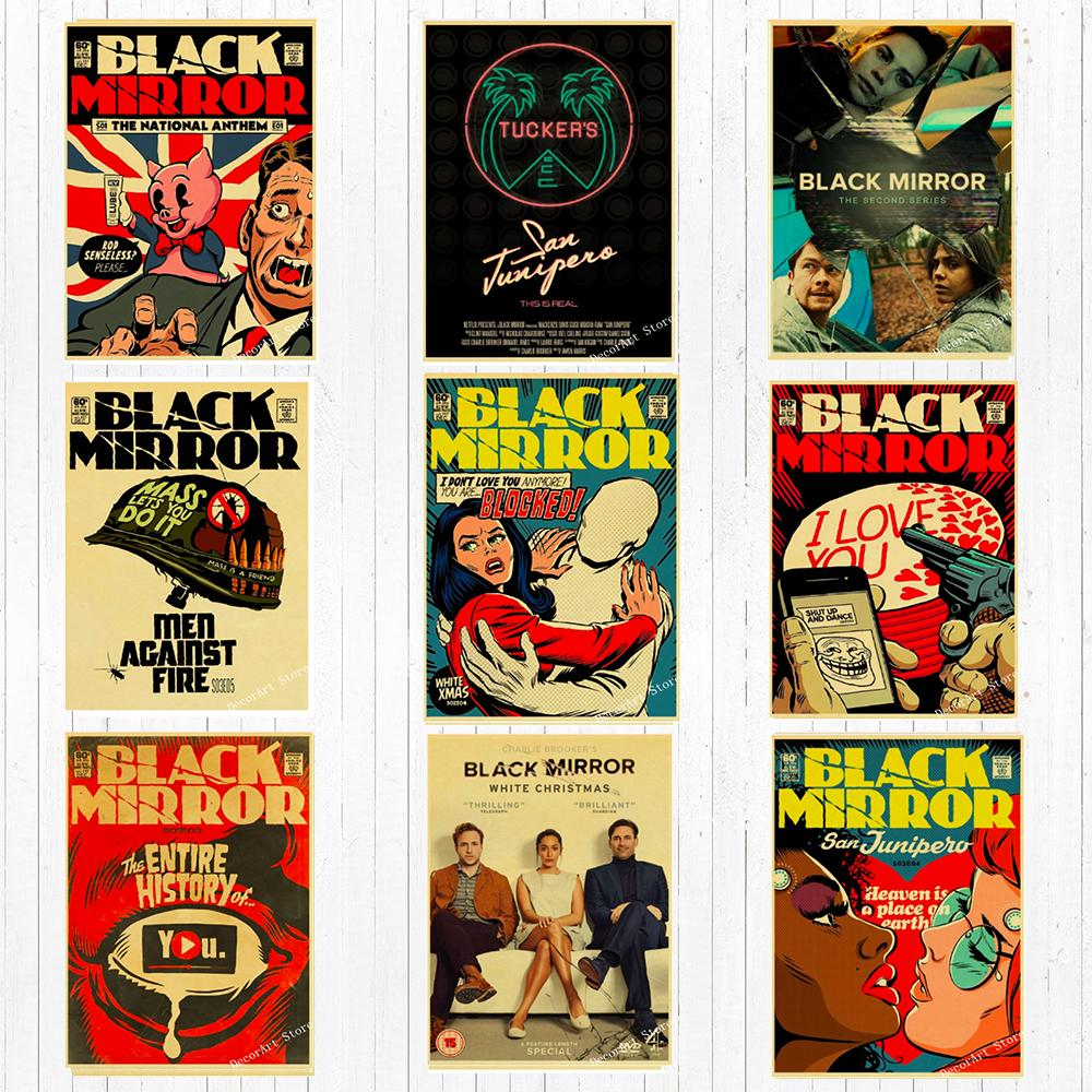 White Christmas Black Mirror Poster.2019 Classic Tv Black Mirror Bbc Movie Canvas Painting Vintage Wall Kraft Posters Coated Wall Stickers Home Decoration Pictures From Candide 2 69