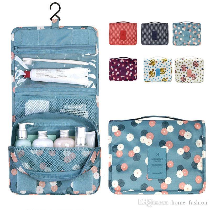 Unisex Portable Cosmetic Organizer Waterproof Folding Large Capacity Hook Travel bag Hanging Toiletry Bag Wash Makeup Bags 9 Colors