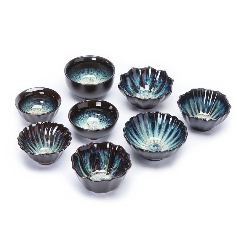 2020 8pcs Celadon tea set Colorful starry teacup temmoku glaze tea cup Kung fu cup Build kiln ceramic cup Teacup Beautifully artwork