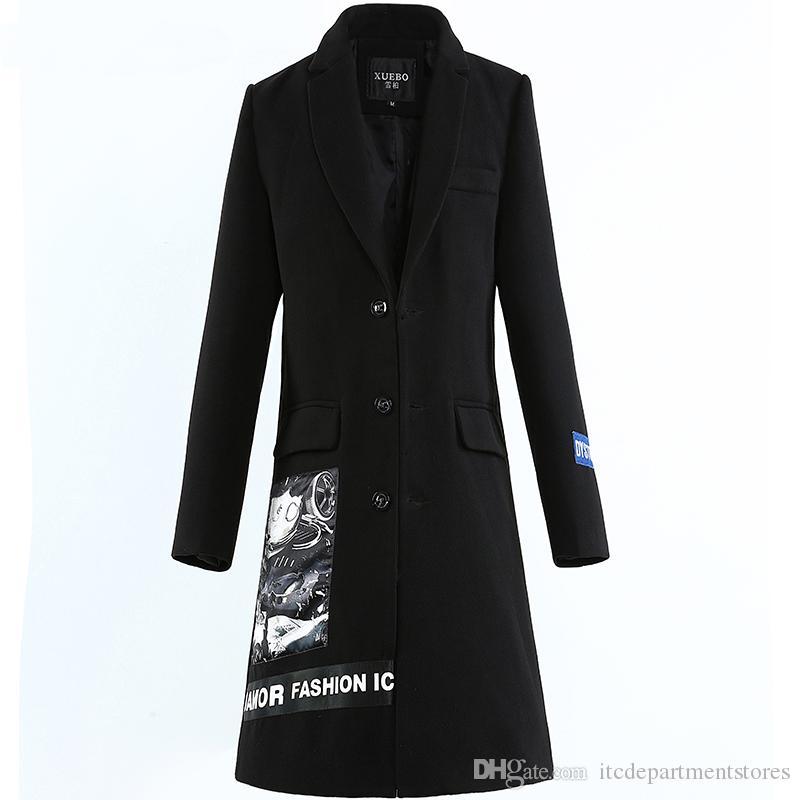 Erkekler Kış Yün Uzun Ceket Trençkot İnce Dış Giyim Yatak açma Yaka Casual Yün Coat