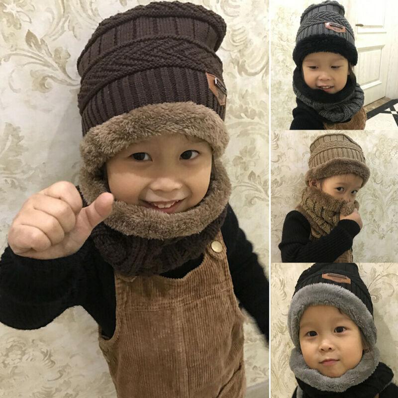 Toddler Kids Girl/&Boy Baby Infant Winter Crochet Knit Hat Beanie Cap Scarf Set