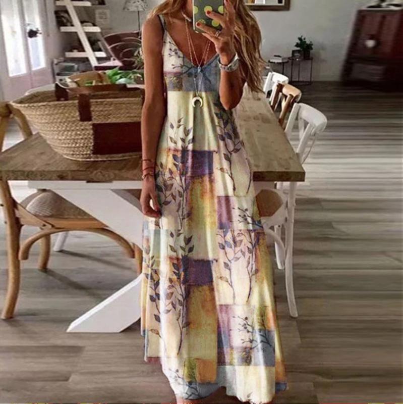 2020 Женщины Летнее Платье Плюс Размер Рукавов Праздник Цвет Блока Старинные Ремень Платье Макси Длинные Причинные Пляж Бохо Свободные Платья