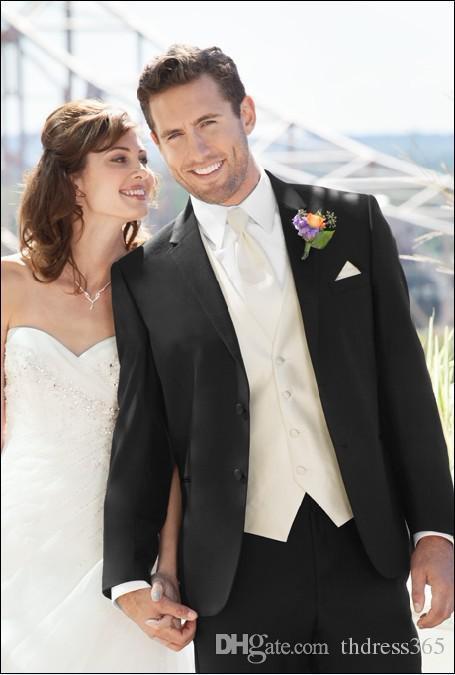 New Style Black Suit Ivory Vest Groom Tuxedos Best Man Notch Lapel Groomsmen Men Wedding Suits Bridegroom(Jacket+Pants+Tie+Vest) H632