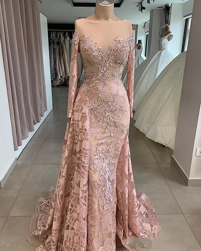 Arabic New Vintage Blush Pink Evening Dresses Wear Long Sleeves Full Lace Bateau Neck Crystal Beads Mermaid Formal Prom Dress Party Gowns