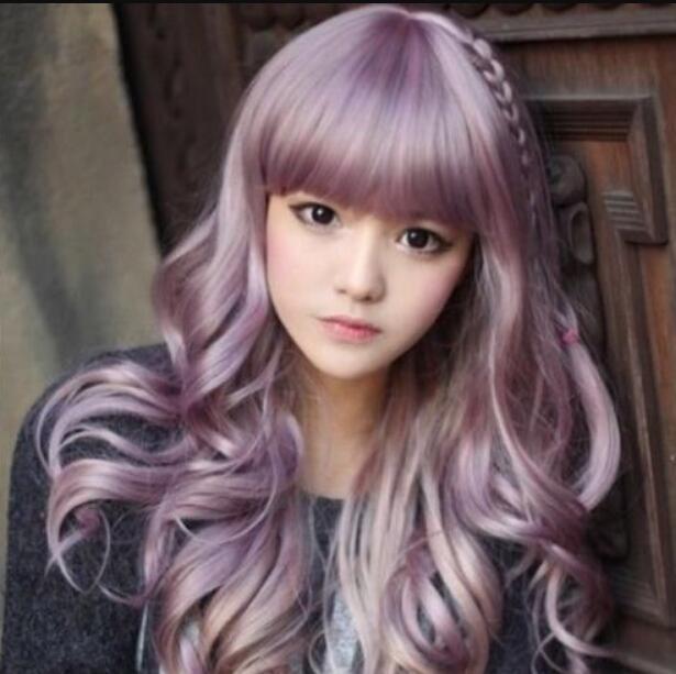 WIG ZCD NUEVO ESTILO Lolita Harajuku Zippe mix Purple Gradient 60cm rizado Cosplay Party pelucas
