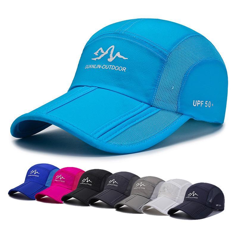 여름 빠른 건조 야구 모자 남성과 여성은 스냅 백 스포츠 모자 야외 보호 등산 태양 모자 접는 통기성