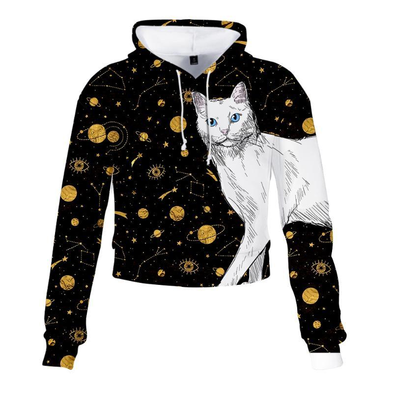 Fashion Cat Pattern Cat's Eyes High Waist Sweatshirt Harajuku Hip Hop Csual Streetwear High Waist Sweatshirt Quality Fabric