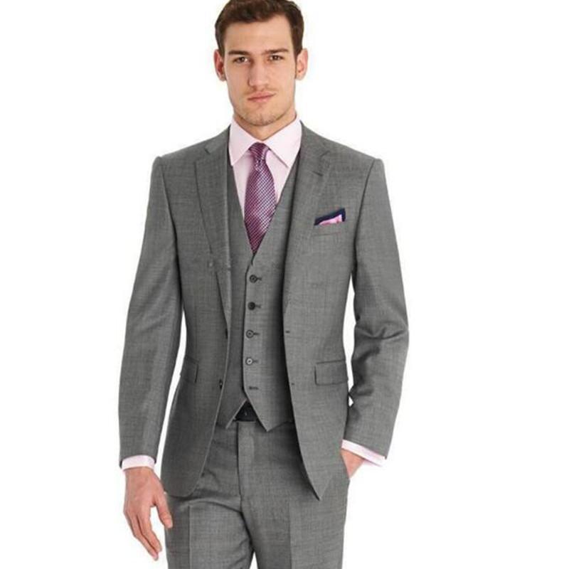 Düğün Smokin Özel tasarlanmış Suits Koyu Gri Moda Man Smokin Groomsmen Erkekler Wedding Suits 3 adet (Ceket + pantolon + Yelek)