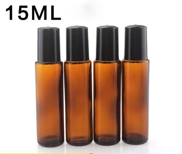 Beste Qualität 15ml Braunglasflasche Roll On Leer Duft Parfüm Ätherische Öle Flasche 15ml Roll-On aus schwarzem Kunststoff Cap Flasche Großhandel