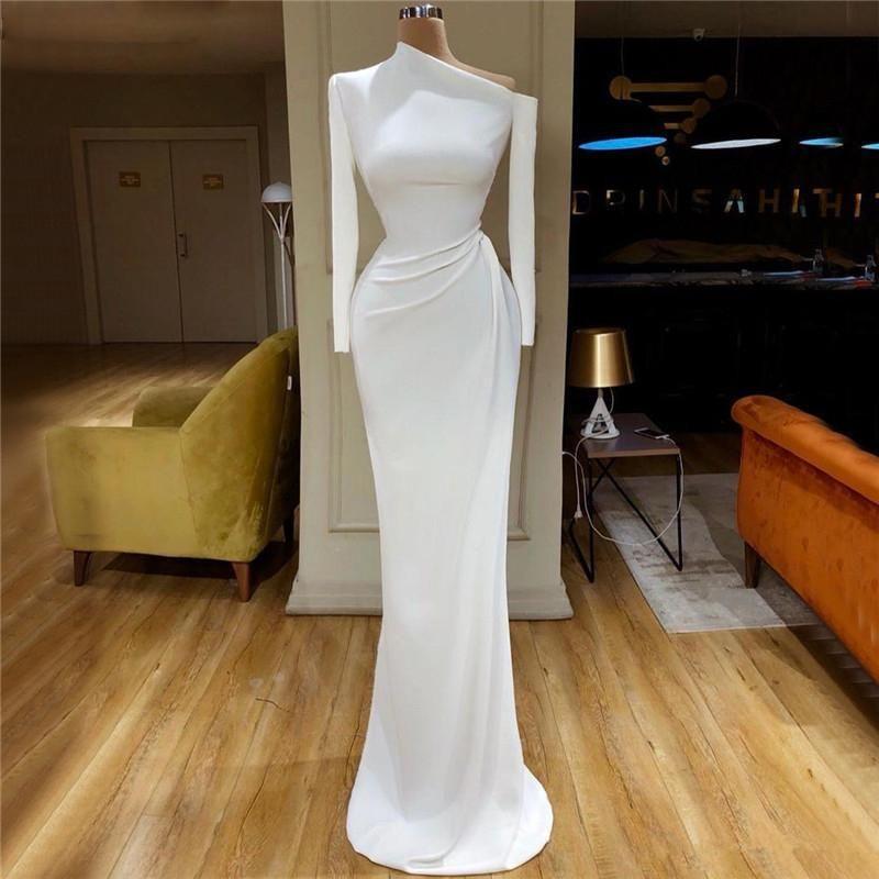 Elegant White Satin Mermaid Prom Vestidos manga comprida um ombro Partido Evening Vestidos Trem da varredura Formal robe vestido de noite Vestidos
