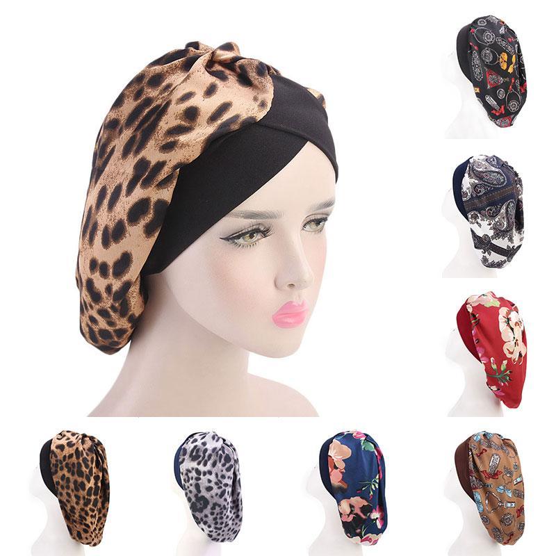 Мода атласной Bonnet Night волосы Hat для л вьющихся волос Double Упругих Купального сна Женщина Крышка головки Wrap повязки Hat