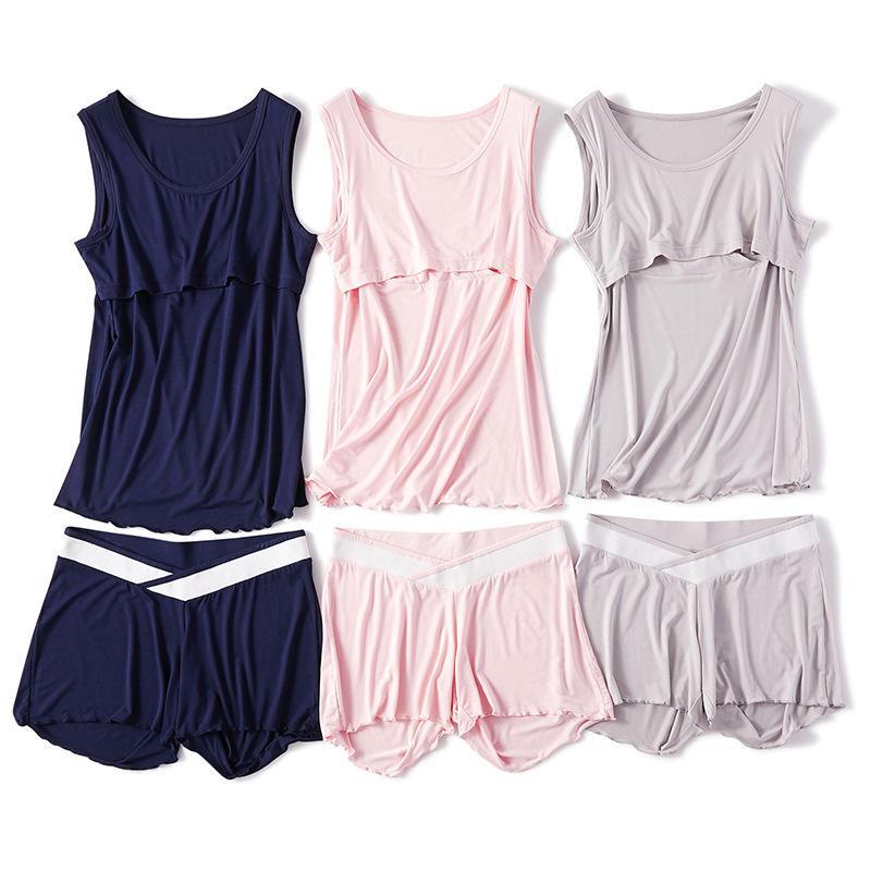 Maternidad de enfermería sin mangas de algodón ropa de dormir conjunto lactancia materna pijamas Set 2pcs / set de las mujeres embarazadas para las mujeres embarazadas