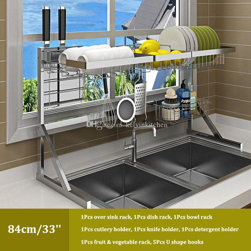 2019 Over Sink Dish Drying Rack Kitchen Drainer Shelf For Dishes Bowl  Stainless Steel Storage Counter Organizer Over Sink Space Saver From ...