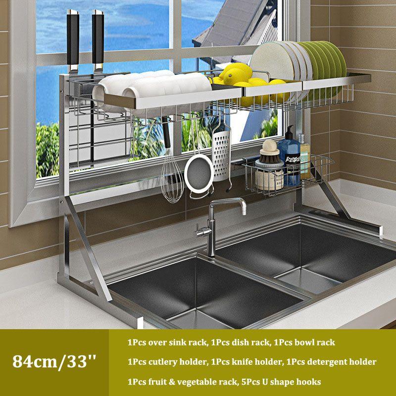 Dessus de l'évier égouttoir de séchage Cuisine égouttoir Tablette pour Vaisselle en acier inoxydable Bol de stockage contre organiseur espace Sink Saver