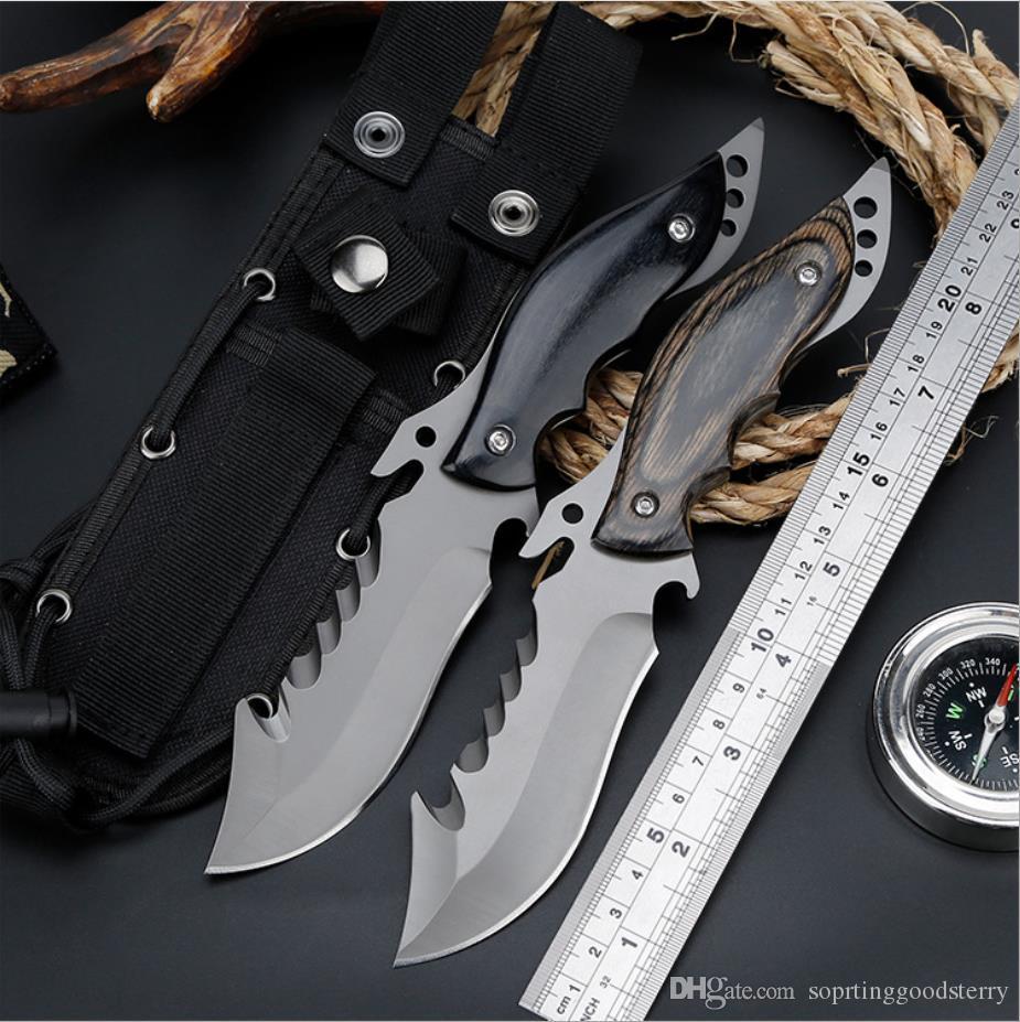 Usine moderne tactique directe de haute dureté survie de champ multi-fonction couteau de chasse outil de plein air avec petit couteau droit