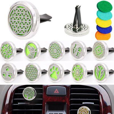 Difusor do óleo essencial da casa da aromaterapia para o refrogerador de ar do carro Grampo do medalhão da garrafa de perfume com as almofadas laváveis do feltro 5PCS EEA354