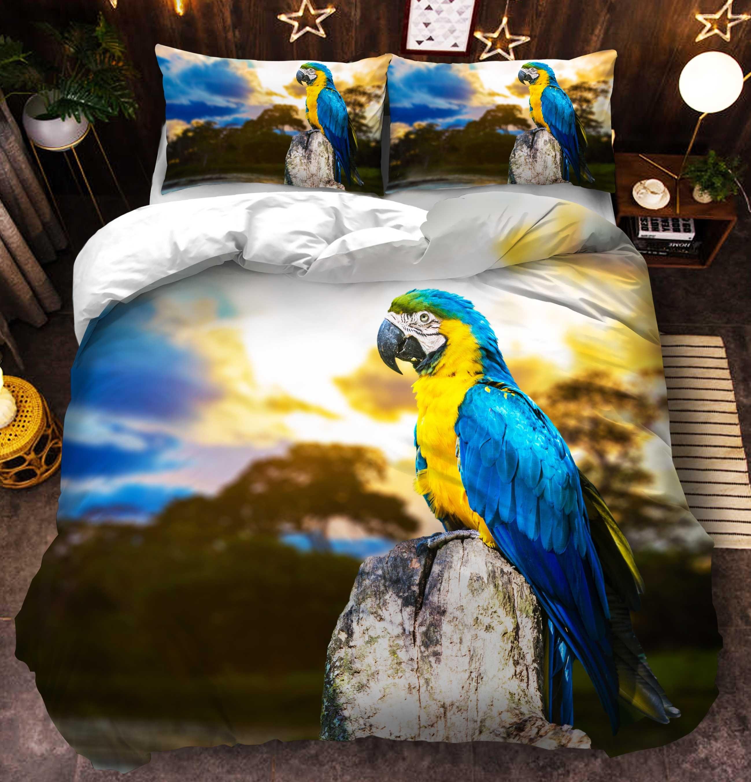Parrot Пододеяльник Твин Полный Queen King Super King Size Double Bird пододеяльник Одеяло Обложка наволочки 3шт