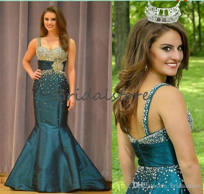 Beautiful Teal Green Mermaid Prom Dresses Beaded Crystal Strap MISS USA pageant Evening Gown Backless Taffeta Holiday Special Occasion Dress
