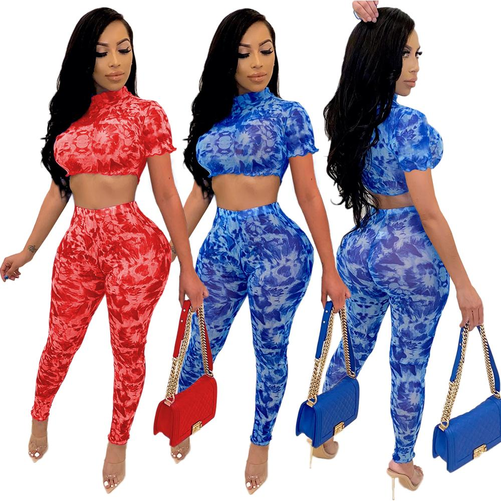 Real Photos Women Printing Skinny Outfits Fashion Female Party Nightclub Pants Sets Two- piece Sexy Short Sleeves Sets High Quality 2020