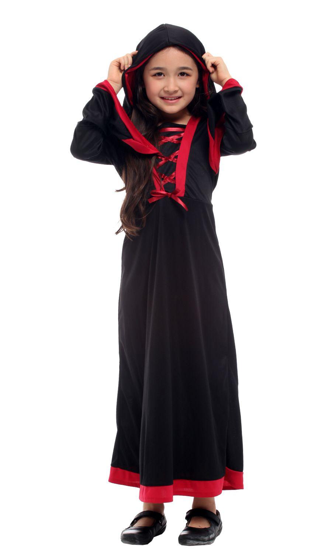 Shanghai Story Halloween Kostüm für Mädchen Hexenkleid mit Kapuze Cosplay Schwarz