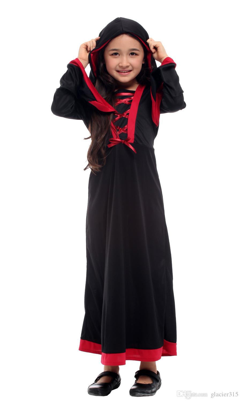 Traje de Halloween de história de Shanghai para meninas vestido de bruxa com capuz Cosplay preto