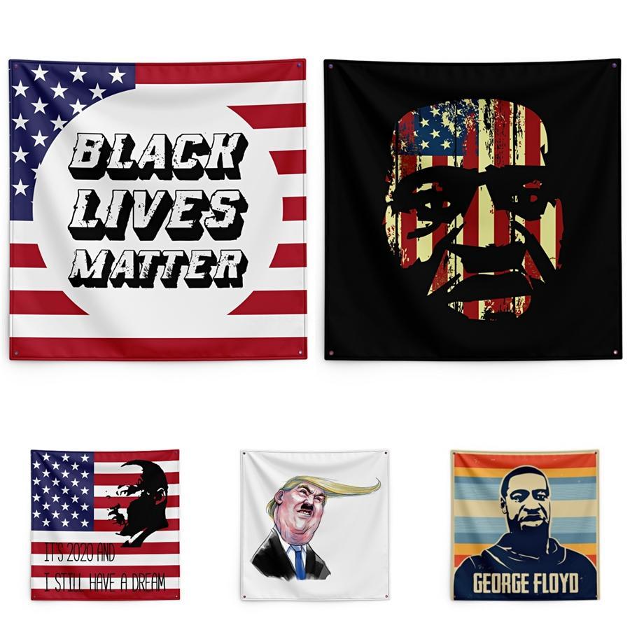 Justice pour George Floyd impression Tapestry Lives noir Matter mur ménages Bannière 150 * 150cm # QA64708