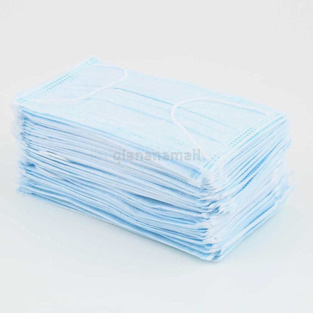Maschere Nel gettare Stock cotone blu mascherina mascherine Maschere Non tessuto polvere 3 filtri attivati 50PCS Carbon Pollution trasporto libero del DHL V01