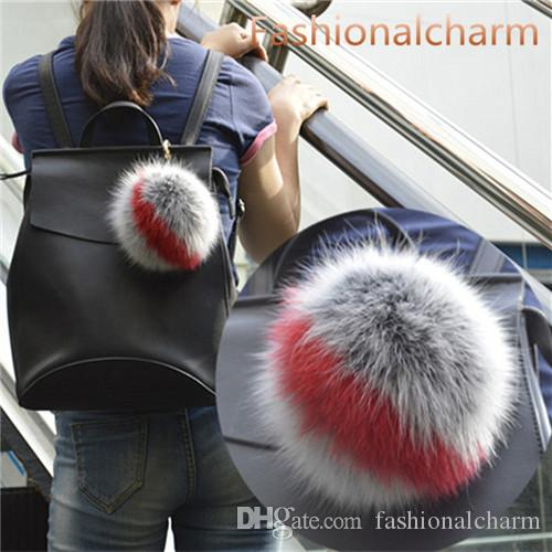 """15cm / 6"""" Yumuşak Gerçek Fox Kürk Topu Ponpon Çanta Anahtarlık kolye Anahtarlık Püsküller"""