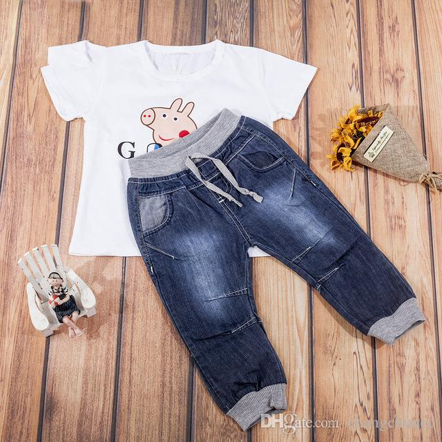 Autumn baby boys Jeans pants with free T-shirt children full length kids solid pants infant toddler trousers
