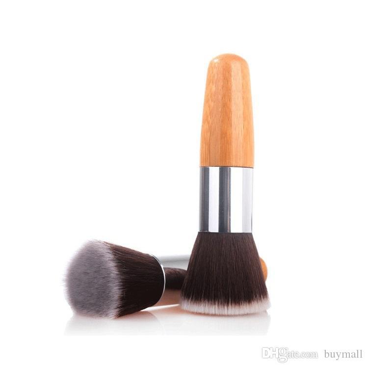 Escovas De Bambu Premium cabeça chata cabelo macio cabelo sintético blush foundation escova ferramentas de maquiagem transporte da gota