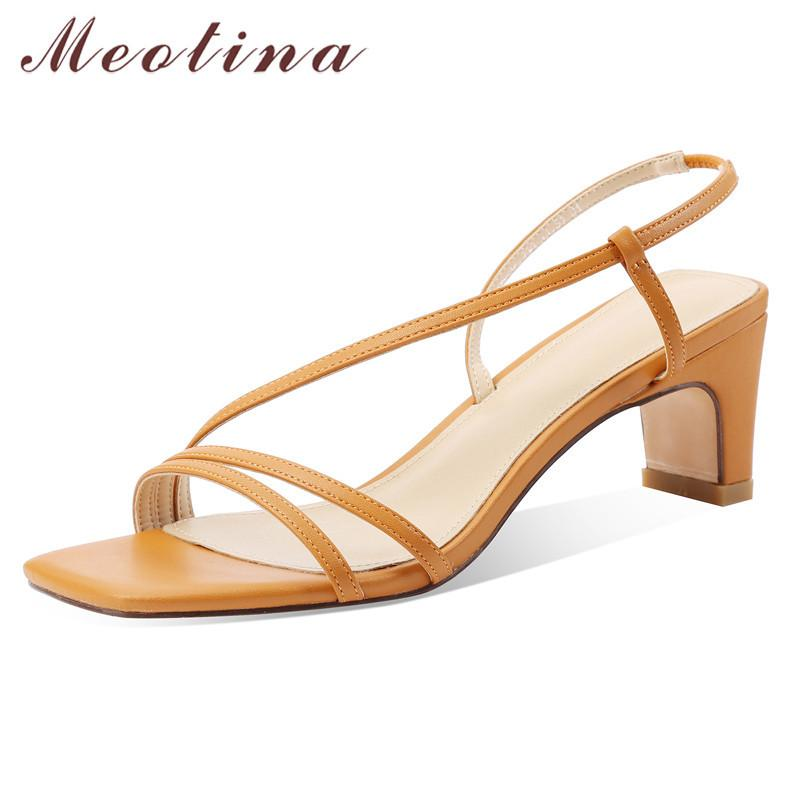 Meotina Women Sandals Narrow Band Real Leather High Heel Shoes Square Toe Thick Heels Footwear Ladies Summer Sandals Black 43 CX200619
