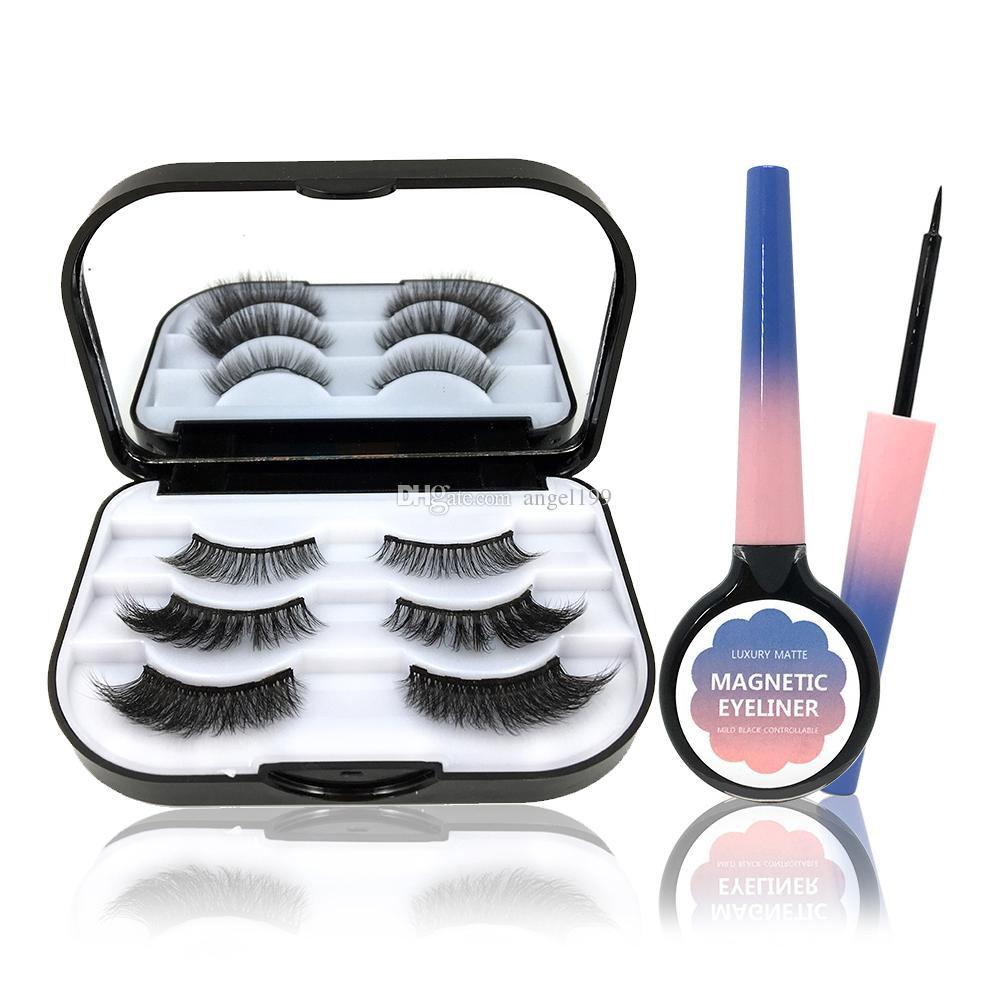 wholesale 3pairs mix style 3d magnetic false eyelashes magnetic Quick dry waterproof eyeliner With eyelashes set