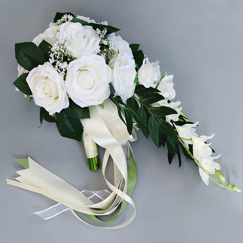 Cachoeira de seda rosa buquê de casamento para damas de honra buquês de flores brancas flores artificiais mariage suprimentos decoração de casa