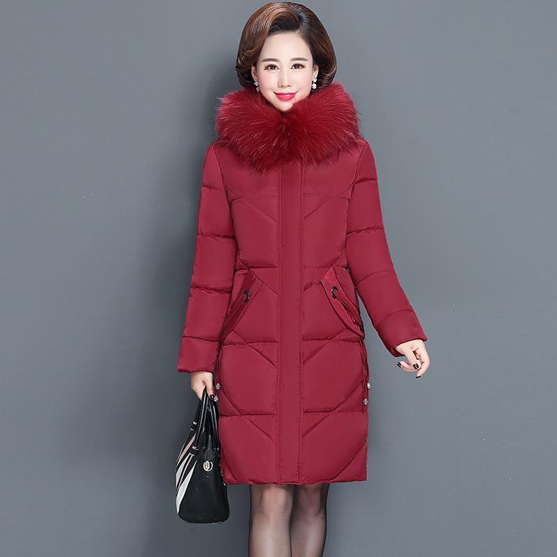Women's winter jacket fur collar female jacket slim cotton-padded long jacket outerwear winter coat parka Large size