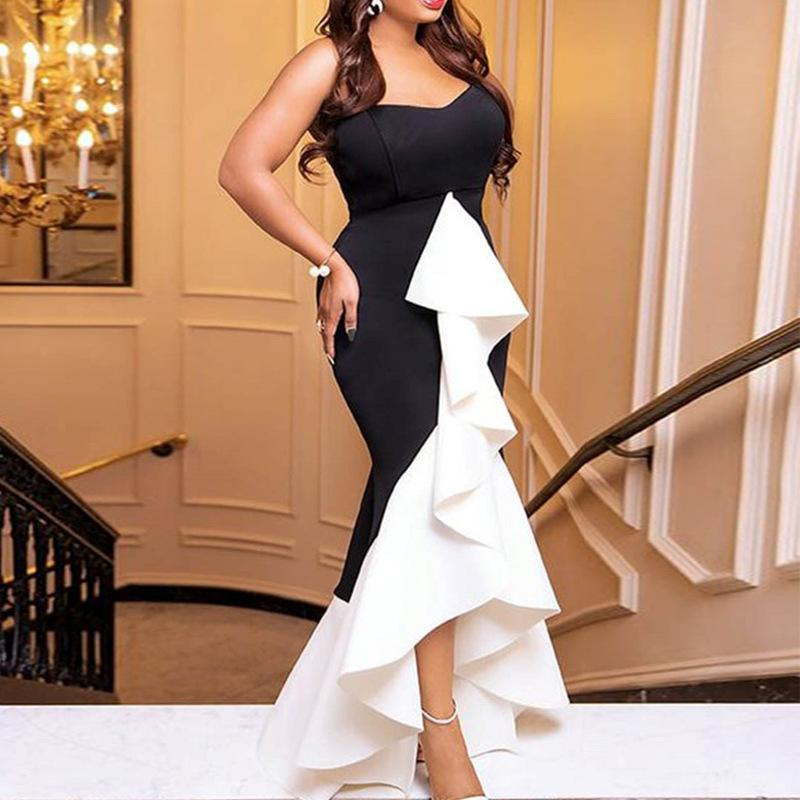 Women Long Party Dress Sexy Ruffle Patchwork Black White Contrast Color Tight Elegant Celebrate Dinner Evening Maxi Bodycon Robe T5190615