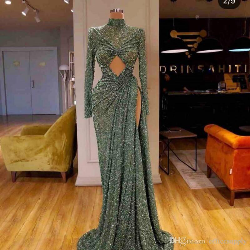 Hunter Green Sequined Side Split Evening Dresses Sexy High Neck Long Sleeves Mermaid Prom Dress robe de soire Dubai African Wear Vestidos