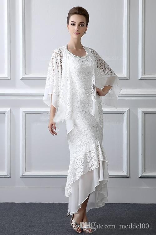 2019 New Two Pieces Lace Mother Of The Bride Dresses With Coat Jewel High Low Women Prom Party Gowns Wedding Guest Gowns Custom Made Cheap