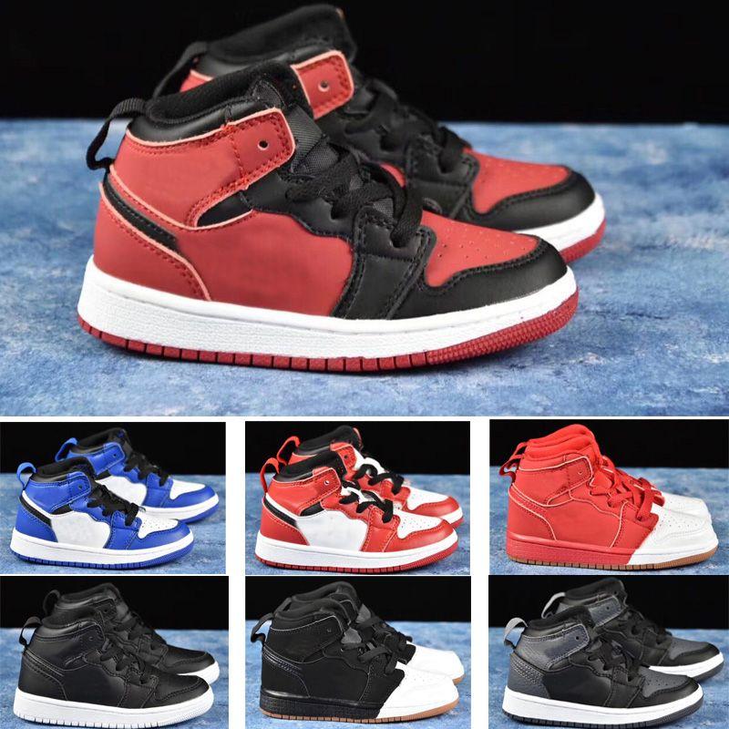 2020 Micheal 1 Mid haute I 1S enfants chaussures de basket-ball garçon fille sport jeune enfant Sneaker taille 28-35