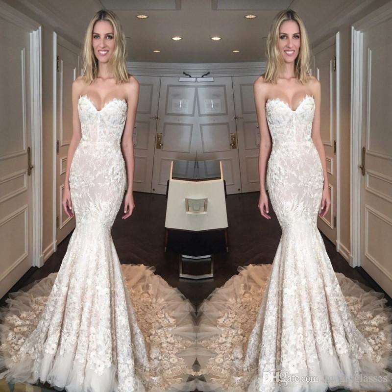 Beautiful Lace Applique Sexy Mermaid Wedding Dresses Sexy Lace Up Back Long Vestidos de Mariee Bridal Gowns Custom Garden