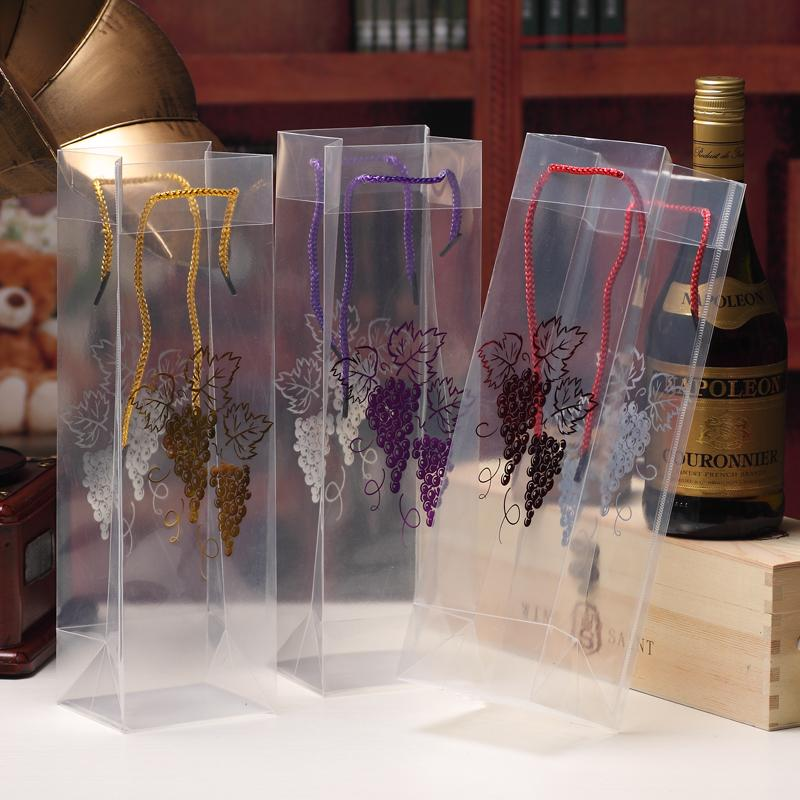 Transparent Grape Hot-stamping 33x10x9cm Wine Bags Carrier PP Rope Juice Gift Bottle Carrier Jar Xmas Bags Customize Pounch