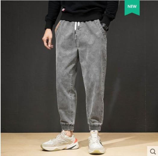 Grey Jeans homens soltos Big Yards Lavados Smoke Grey Retro Harlan Sub Viga Pés Calças Calças e obesidade